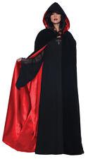 Black Velvet Cape Deluxe 63 Inch Adult Costume Red Lining Fancy Dress Underwraps
