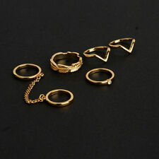 New 6pcs Set Gold Rings Crystal Above Knuckle stacking Band Midi Mid Ring H