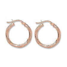 9ct Rose Gold Twist Hoop Creole Earrings