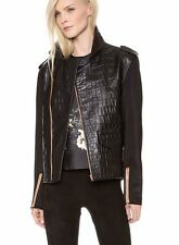 ELLERY $3,515 leather & neoprene biker coat snappy man-style bomber jacket NEW