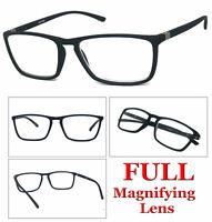 1 or 2 Pair Mens Fashion Rectangular Rubberized Frame Full Lens Reading Glasses