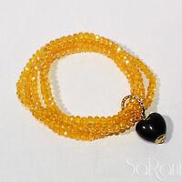 Armband Anhänger Bijouterie bijoux Frau STRASS gelb Multidraht elastisch