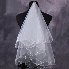 2018 WHITE/IVORY RED NEW Veil Wedding Bridal Accessories Veil 2 Layers Beaded