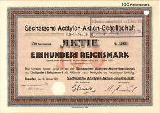 Aktie Sächsische Acetylen-AG 100 RM 1926 Dresden