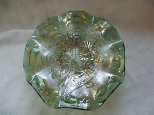 Beautiful  Green Carnival Glass Pansy, Imperial  Bowl