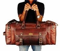Men's Gym Sports Overnight Weekender Leather Travel Vintage Leather Duffle Bag