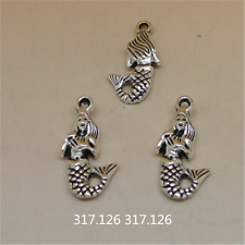15X Tibetan Silver Mermaid Charm Pendant Beads Jewellery Craft Wholesale  GU935