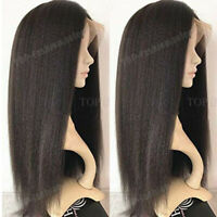 Glueless Yaki Straight Lace Front Wigs Indian Remy Human Hair Wig Pre Plucked Gt
