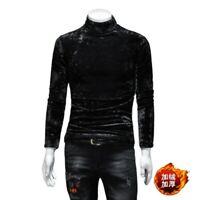 Winter Men's High Neck Velvet T-Shirt Brushed Lining Long sleeve Slim Fit New L