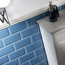Sample of gloss teal metro bevelled edge ceramic wall tiles 10 x 20cm