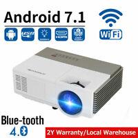 Full HD 1080P Projektor Android 7.1 Heimkino Beamer Portable HD Blue tooth 4.2