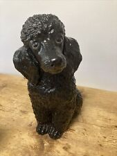 More details for antique 1920's black poodle ornament statue figure fireside wally dog large art