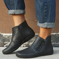 Womens Autumn Winter Casual Braid Ankle Boots Round Toe Zip Flat Shoes Plus Size