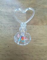 Vintage Dainty and Elegant Glass Bell w/ Heart Handle Flowers and Scalloped Edge