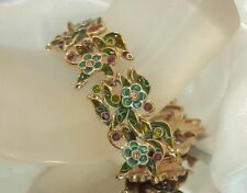 Very Nice Monet Signed Enamel Flower Vintage 80's  Bracelet  Extra Pretty 1A0