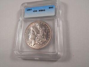1897 P Morgan Silver Dollar ICG MS 63, Blast White, Shiney
