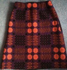 vintage 70s Welsh tapestry overknee skirt 10 purple pink black wool weave OOAK