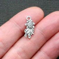 10 Goldfish Charms Antique Silver Tone 2 Sided - SC2586