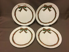 4 Lefton Christmas Accent Plates Ribbon and Bows 1987 8.5""