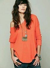 NEW Free People We The Free Orange Billie Jean Thermal Top   Size XS