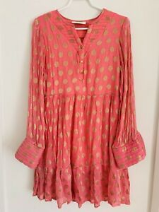 Cecilie Copenhagen Dress Top Pink Gold Embroidered Spots Polka Long Sleeve M L