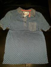 TU UK BOYS size 8 YEARS BLUE POLKADOT COLLARED BUTTON FRONT TSHIRT TOP
