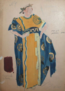Vintage gouache drawing Roman noble theatre/opera costume design signed