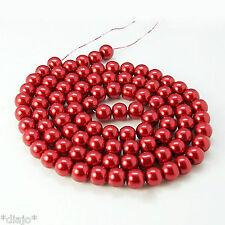 50 Glaswachsperlen 8mm rot glänzend metallic Perlen Glasperlen