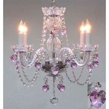 "Swarovski Crystal Trimmed Chandelier Lighting With Pink Crystal Hearts H17""xW17"""