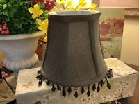 """Lampshade-Brown Fabric~Clip On~5""""H~Beads~FREE SHIPPING~Several Available~"""