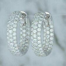 4.50 CT Triple Row Round Cut Huggie Hoop Earrings  14kt White Gold Over