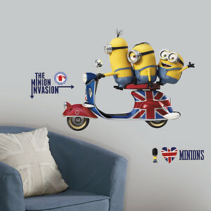 """MINIONS WALL DECALS 33""""x 26"""" Giant Room Stickers Despicable Me Movie Decor NEW"""