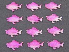(12) VTG fuchsia pink FISH celluloid cabochon charms JAPAN flat back 25mm x 15mm