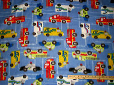 Police Car Ambulance Fire Truck Fireman Policeman Blue Fleece Fabric by the Yard