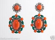 Kenneth Jay Lane gunmetal/crystal coral/emerald clip earrings