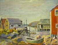 Vint Impressionist Oil Painting Harbor Wharf Boathouse Rowboat Coastal Seacoast