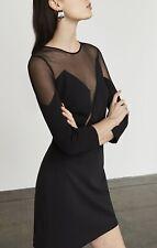 NWT BCBG MAX AZRIA Edesa Sheer-Neck Dress Sz 8 Black