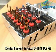 Dental Implant Surgical Drills 18 Pcs Kit Wrench Ratchet Hex Driver Screws NEW