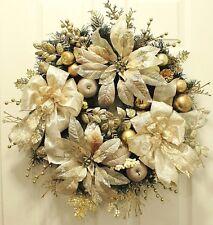 Sale~Elegant Gold~Rose Gold~Platinum Jeweled Poinsettias~Christmas Winter Wreath