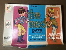"""1967 Mb""""The Mods Paper Dolls"""" 2 Paper Doll Set Big Eyed Children Go-Go Dancers"""