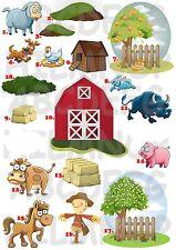 ADESIVO FATTORIA FARM ANIMALI STICKERS (SCEGLI TRA 18!) MURALE IMPERMEABILE NEW!