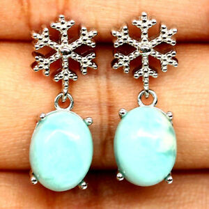 NATURAL 8 X 10mm. OVAL CABOCHON BLUE LARIMAR EARRINGS 925 SILVER STERLING