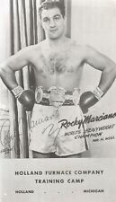 ROCKY MARCIANO 1950'S HOLLAND FURNACE CO. TRAINING CAMP PROMO POSTCARD