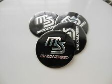 MAZDA SPEED WHEEL CENTER CAP  EMBLEMS SET 4 ALUMINUM STICKERS DECAL 3D BLACK