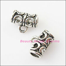 25Pcs Antiqued Silver Tube Clouds Bail Bead Charms Connectors 9x11.5mm