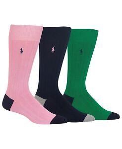 Polo Ralph Lauren Men's 3 Pack Socks Soft Touch Ribbed Heel Toe Pink Navy Green