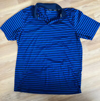 Nike Mens Golf Polo Size Large Royal Blue and Navy Blue Striped Dri Fit