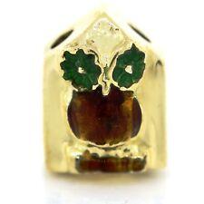 14K Yellow Gold Guilloche Enamel Brown Wise Owl Slide Charm Estate VTG 12mm