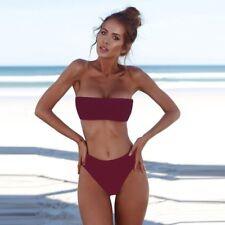 Women's Sexy Strapless Bandeau Push-up Bra Swimwear Swimsuit Bathing Bikini Set