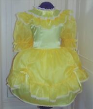 Charming Satin Organza Yellow Sissy Lolita Adult Baby Aunt D